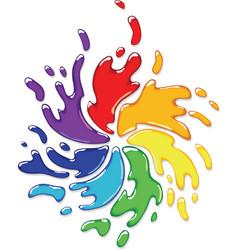 rainbow paint splash vector image vector image