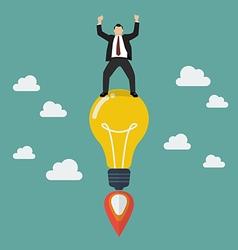 Businessman on a lightbulb idea rocket vector image vector image