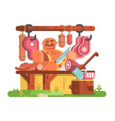 butcher man cuts meat vector image