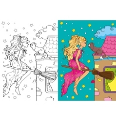 Coloring Book Of Pretty Witch Flying On Broomstick vector image
