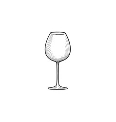 empty wine glass engraving of wineglass glassware vector image vector image
