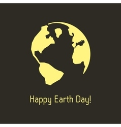 happy earth day with yellow outline planet vector image vector image