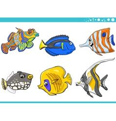 sea life fish characters set vector image