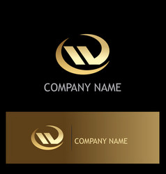 shape abstract letter w gold logo vector image vector image