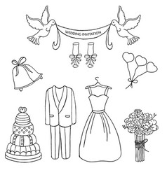 wedding theme pattern cute and detailed vector image