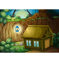 A bamboo house and a lamp vector image vector image