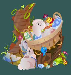 set of easter chocolate egg hunt bunny basket on vector image vector image