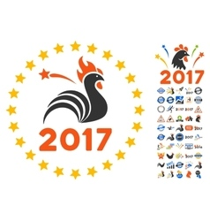 2017 Rooster Year Celebration Icon With 2017 Year vector
