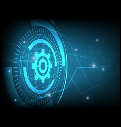 abstract blue cog gear circle digital technology vector image