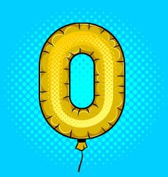 Air balloon in shape number 0 pop art vector