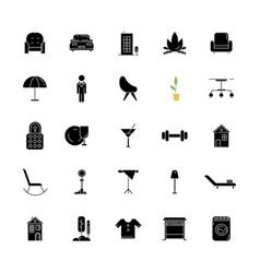 Apartment amenities black glyph icons set vector