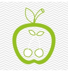 apple fruit with cherries isolated icon design vector image