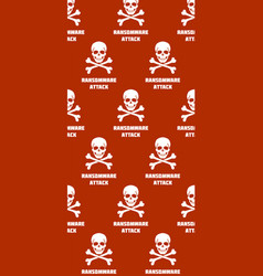 Background with skulls and crossbones ransomware vector