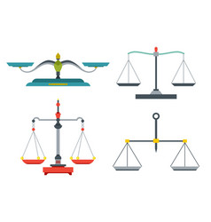 Balance scales with weight and equal pans device vector