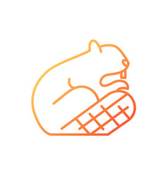 Beaver gradient linear icon vector