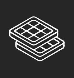 Belgian waffles chalk white icon on black vector
