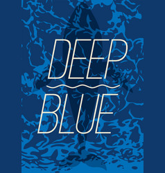 big whale swimming in deep blue ocean poster vector image