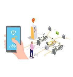 bike sharing system concept for web banner vector image