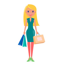 blonde woman with shopping bag vector image