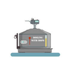 Boiling with hops tank beer brewing process vector