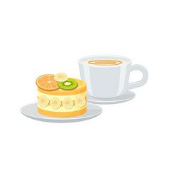 bright banner with cup of espresso and tasty pie vector image