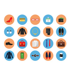 Business wardrobe icons office style clothes vector