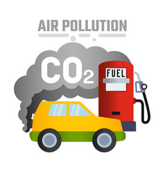 car and symbol carbon dioxide smoke vector image