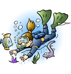 cartoon a diver looking at colorful fish vector image