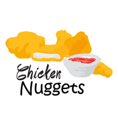 Chicken nuggets with sauce vector