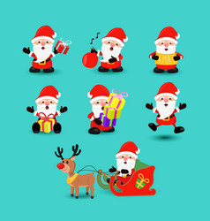 christmas santa claus funny holiday cartoon set vector image