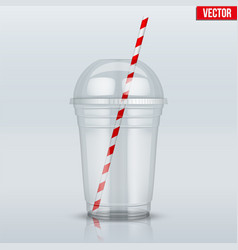 Clear plastic cup with sphere dome cap and tube vector