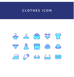 clothes filled outline icon set vector image