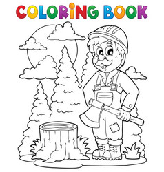 coloring book lumberjack theme 1 vector image