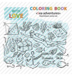 coloring book scuba divermarine vector image