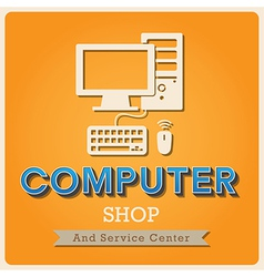 Computer shop retro poster vector