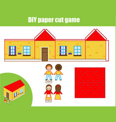 Cut and glue paper game educational children diy vector