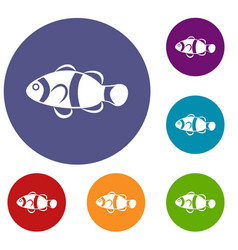 cute clown fish icons set vector image