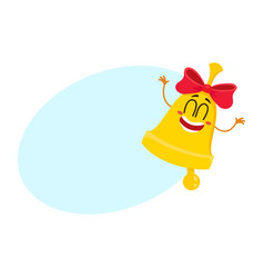 cute funny smiling golden school bell character vector image