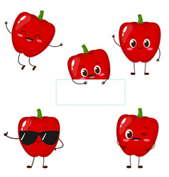 Cute red sweet pepper character set vector