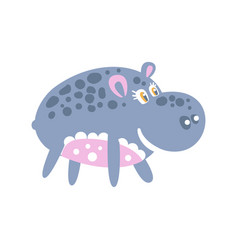 cute smiling cartoon hippo character posing vector image