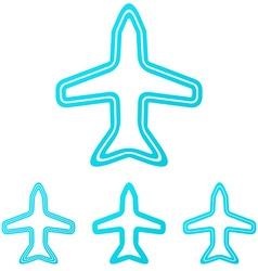 Cyan line aircraft logo design set vector