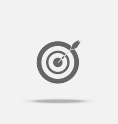 Dart board and arrow in the middle flat design vector