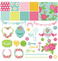 Design elements - floral shabchic theme vector