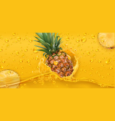 drops pineapple juice 3d realistic vector image