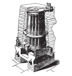 Duplex tubular boiler vintage vector