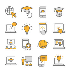 E-learning distance education flat line icons set vector