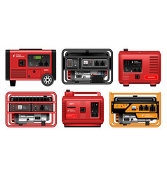 Electric generator realistic set icon vector