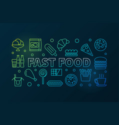 fast food colored horizontal banner vector image