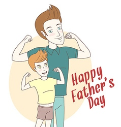 Father and son showing biceps Hand drawn style vector image