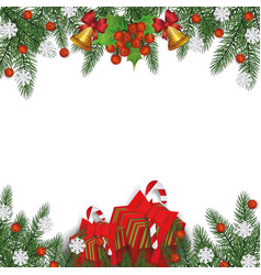 festive christmas frame with pine tree branches vector image